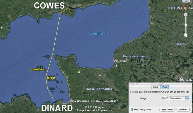 COWES-Dinard übersicht